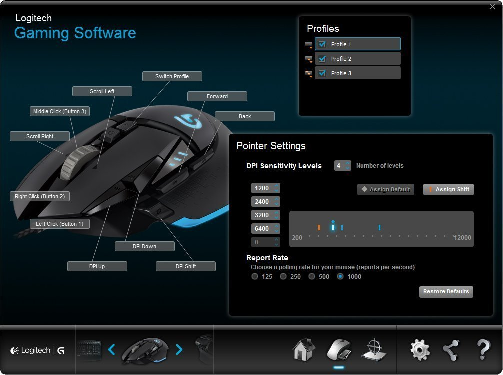 screenshot of the Logitech g502 software