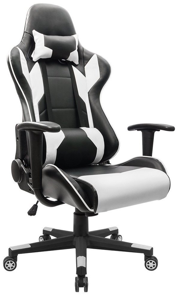 Image of black and white gaming chair from Homall