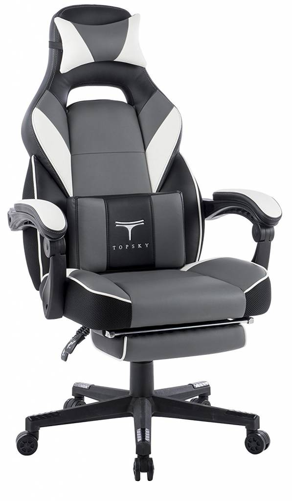 Image of grey white and black pc chair from Topsky