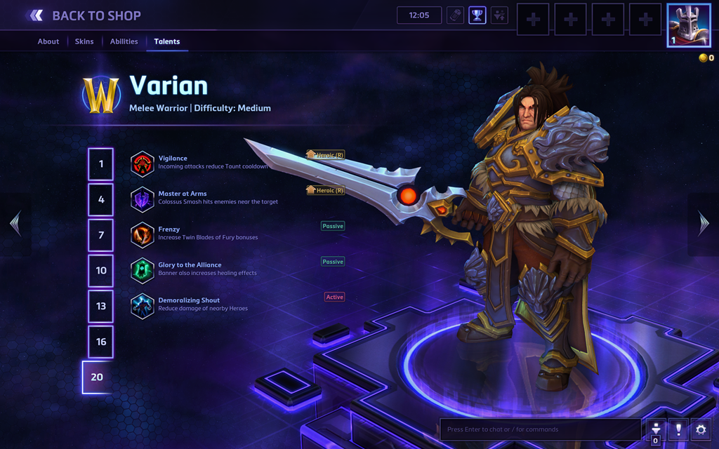 Screenshot of Varian's hero page