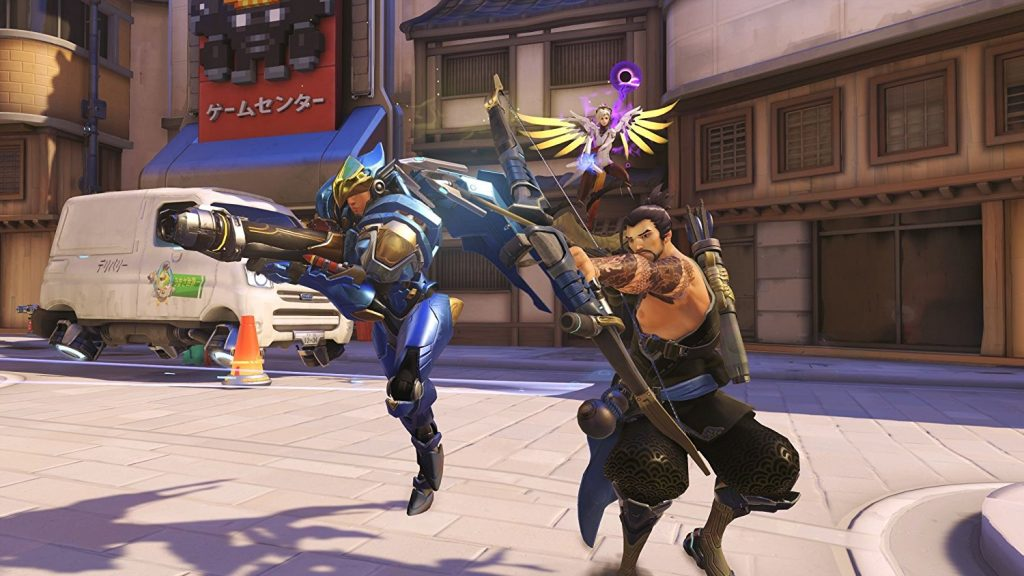 Screenshot of Hanzo and mercy in Overwatch