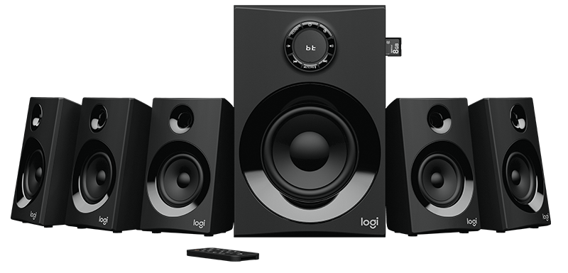 Image of black Logitech surround sound system