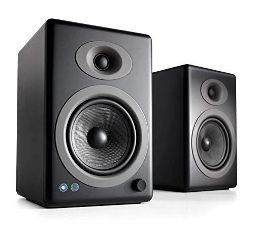 Image of black bluetooth speakers from Audioengine