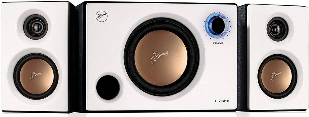 Image of white 2.1 driver and subwoofer audio system