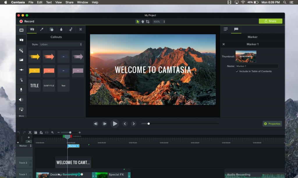 screenshot from Camtasia video recording software