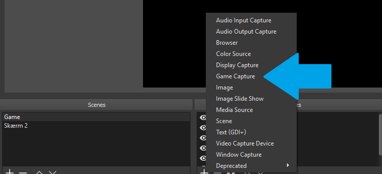 Screenshot showing how to add a game source in obs