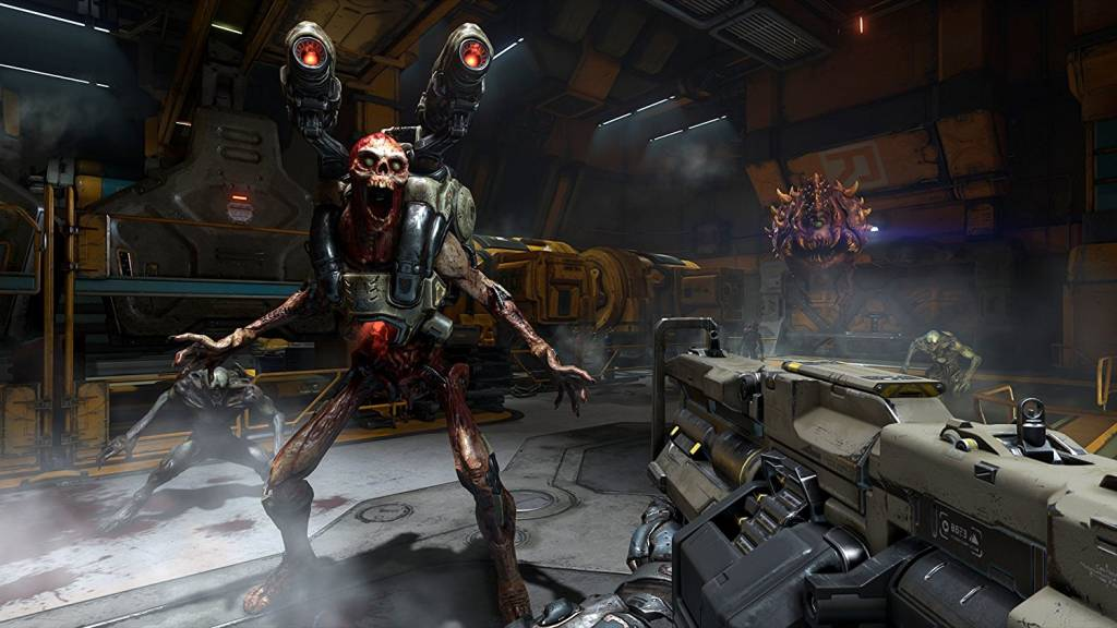screenshot from doom of player shooting a demon