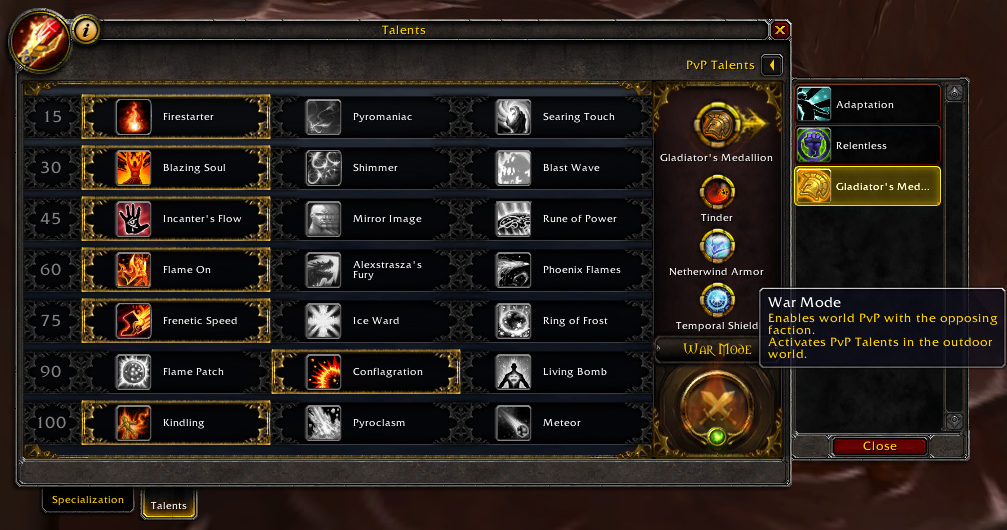 Image of how War Mode will be toggled on in Battle for Azeroth