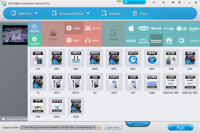 Screenshot of Video converter software from Wonderfox