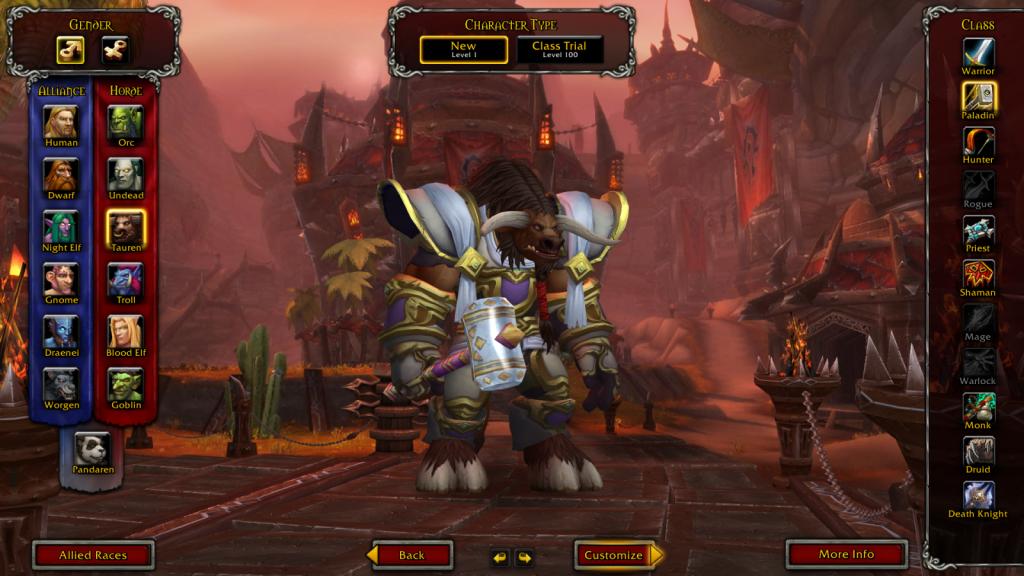 In-game screenshot of a Tauren Paladin