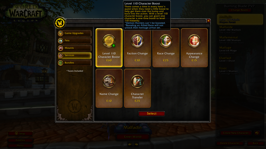 Screenshot of login screen in wow store