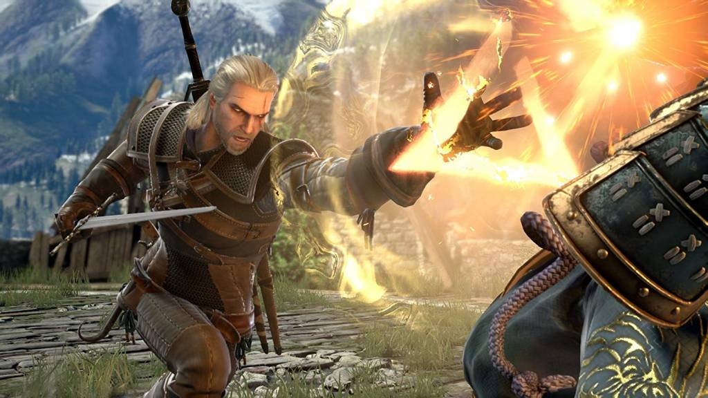 Screenshot of Geralt from Soulcalibur 6