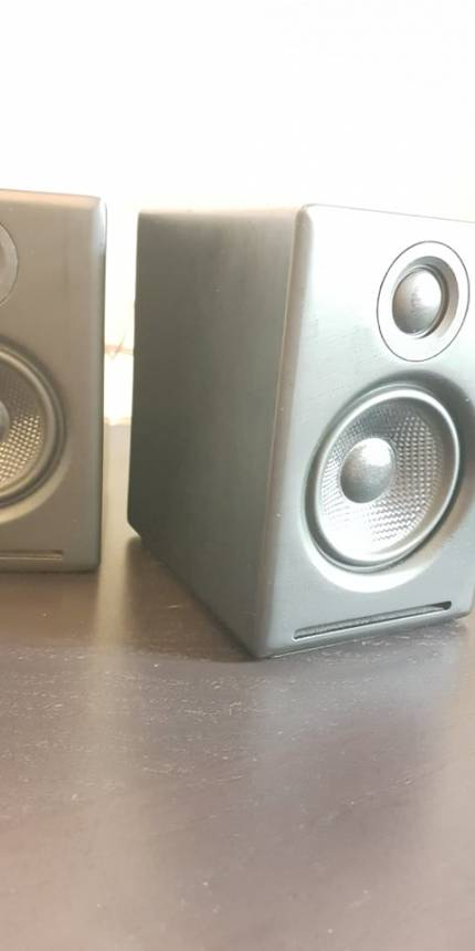 Image of wireless a2+ speakers in matte black