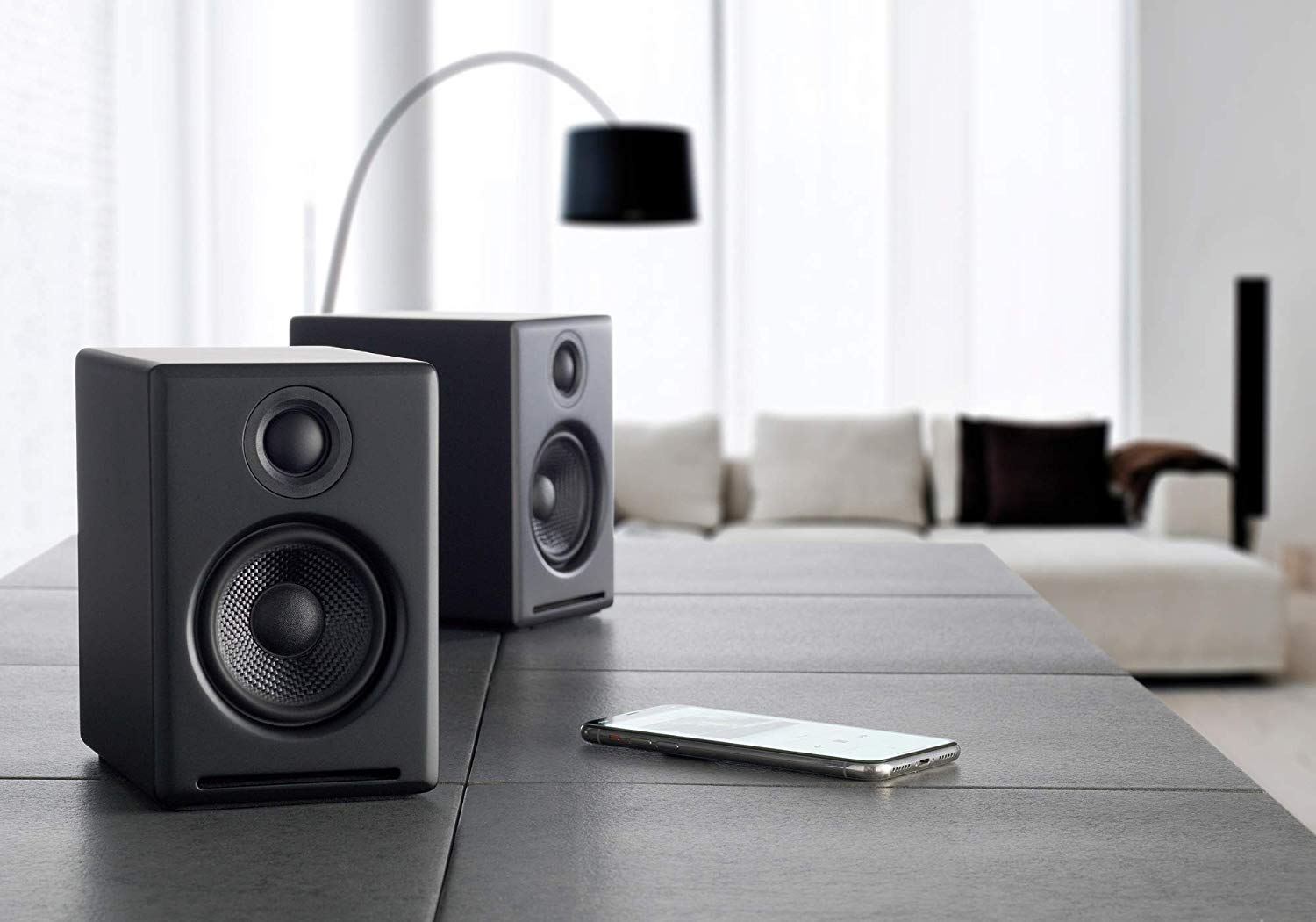image of a pair of wireless speakers from audioengine