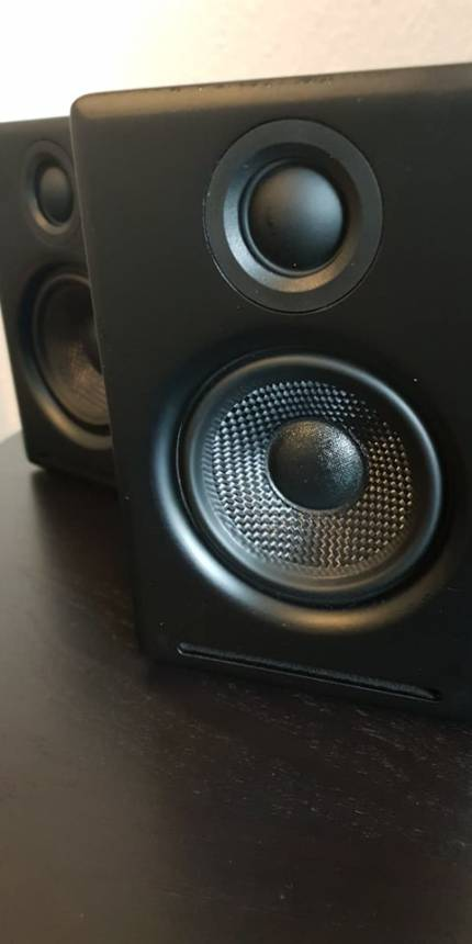 image of black pc speakers