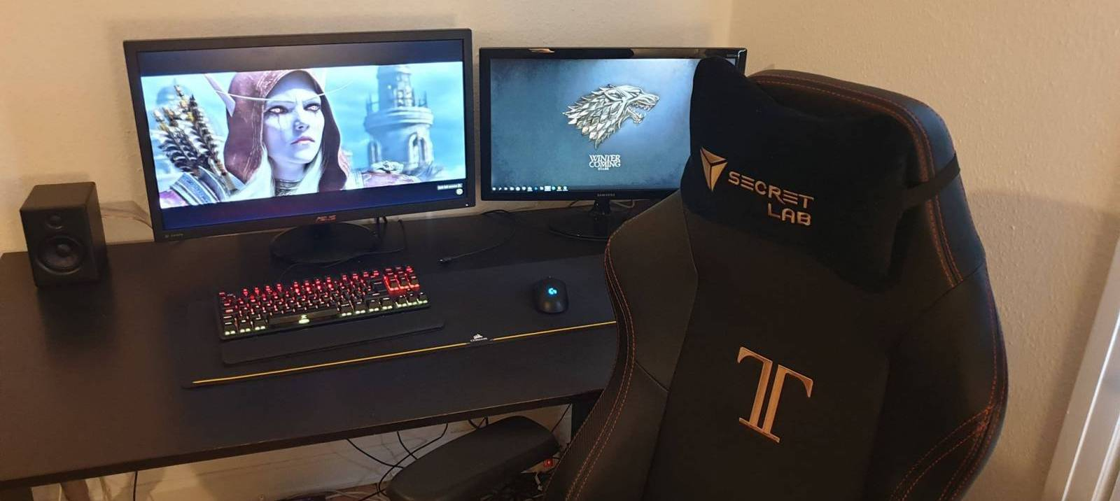 Image of gaming setup with titan chair