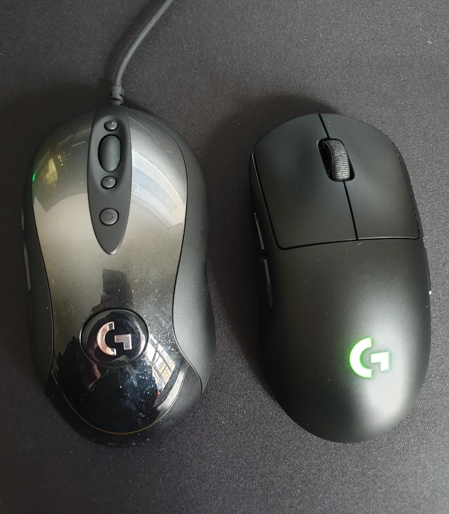 Image comparison of Logitech MX518 and G Pro