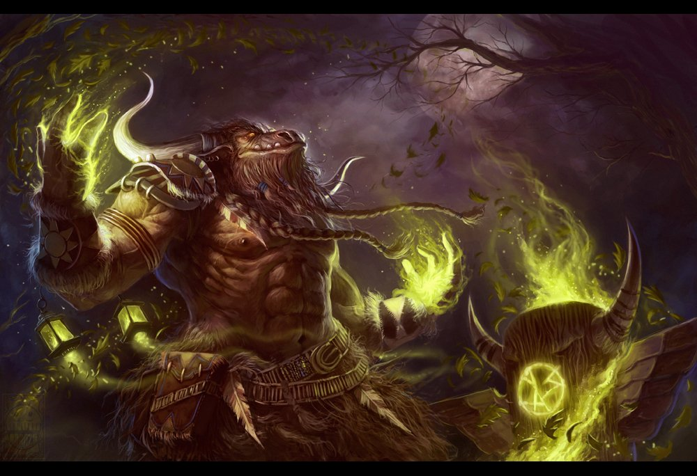 Fanart of a Tauren shaman in World of Warcraft