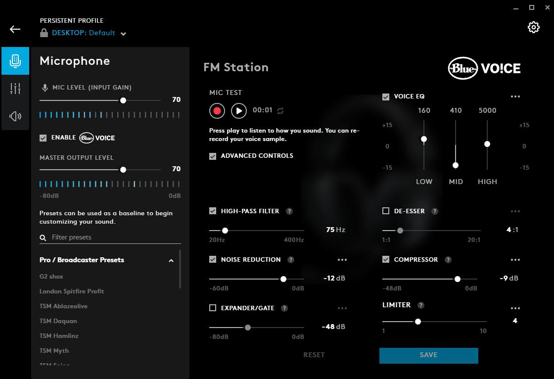 Screenshot of G Hub software